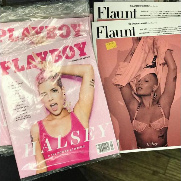As revistas com ensaios sensuais da cantora Halsey (Foto: Instagram)