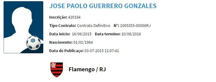 Paolo Guerrero Flamengo BID CBF (Foto: Reprodução)