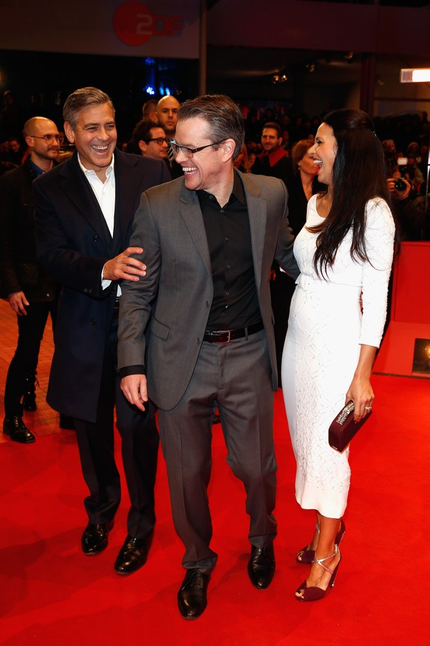 George Clooney, Matt Damon e Luciana Barroso  (Foto: Getty Images)