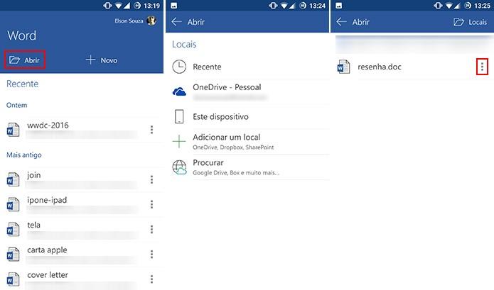 Office para Android pode adicionar atalhos para arquivos do OneDrive, memória interna ou outros locais (Foto: Reprodução/Elson de Souza)
