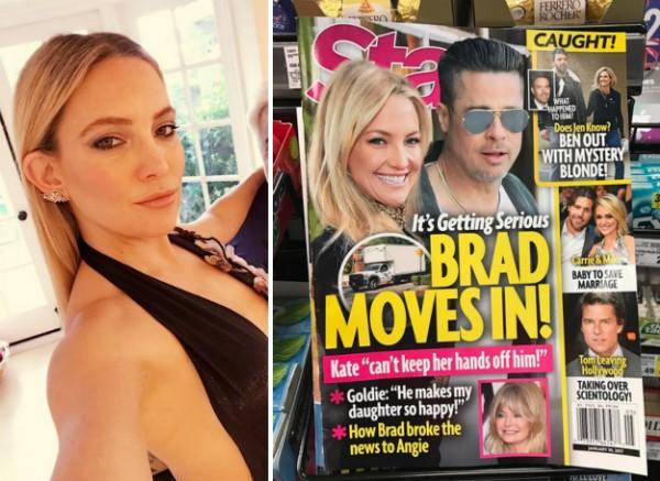 A atriz Kate Hudson e a capa da revista que sugere seu relacionamento com Brad Pitt (Foto: Instagram)