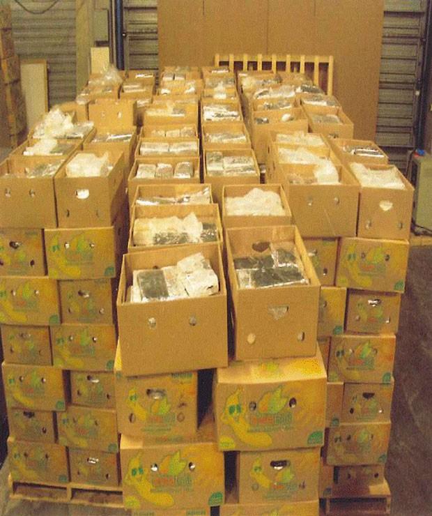 Droga estava em caixas de bananas. (Foto: AFP)