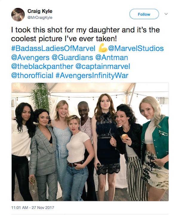 Scarlett Johansson e Brie Larson com outras das atrizes intérpretes das heroínas do Universo Marvel (Foto: Twitter)