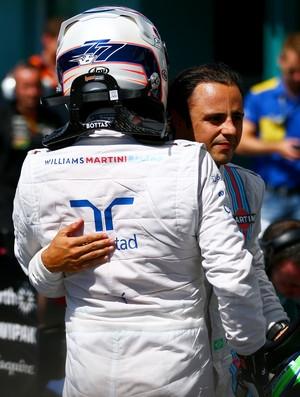 Valtteri Bottas recebe os cumprimentos do companheiro Felipe Massa pelo segundo lugar no GP da Alemanha (Foto: Getty Images)