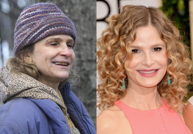 Kyra Sedgwick como moradora de rua e ao natural (Foto: Grosby Group e Getty Images)
