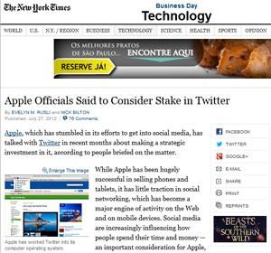 New York Times disse que Apple considera comprar participação no Twitter (Foto: Reprodução)