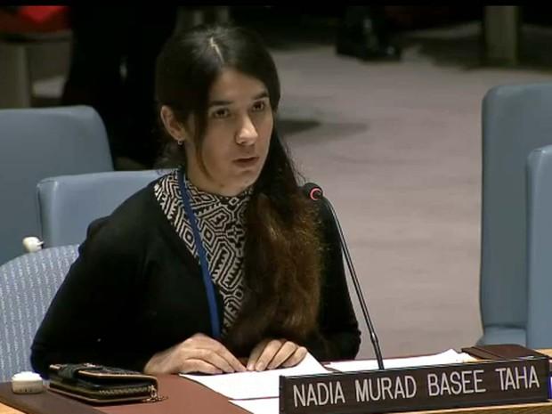 Nadia Murad Basee Taha fala nesta sexta-feira (16) no Conselho de Segurança da ONU (Foto: Reprodução/ UN Web TV)