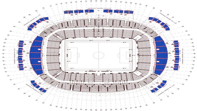 Mapa da instalação dos assentos móveis na Arena das Dunas, em Natal (690x390) (Foto: Max Scotton)
