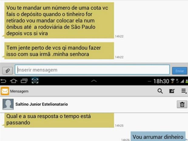 Estelionatário diz que vítima seria colocada em um ônibus e pede dinheiro. (Foto: Polícia Civil)