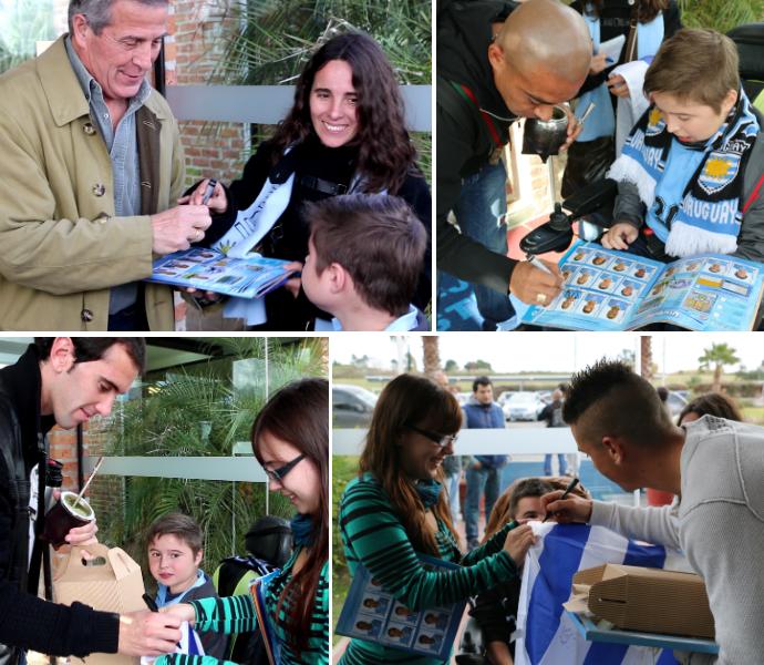 uruguai torcida família autógrafos (Foto: Lucas Rizzatti/GloboEsporte.com)