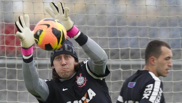 Cássio e Walter: principal concorrência pela vaga no gol do Timão (Foto: Daniel Augusto Jr./Agência Corinthians)