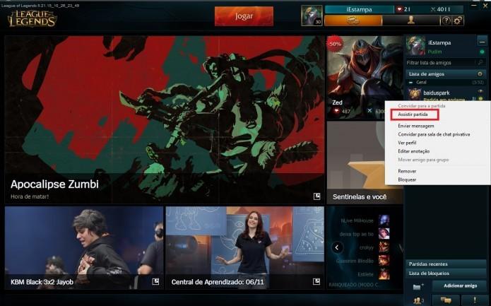 League of Legends: clique em Assistir Partida (Foto: Reprodução/Paulo Vasconcellos)