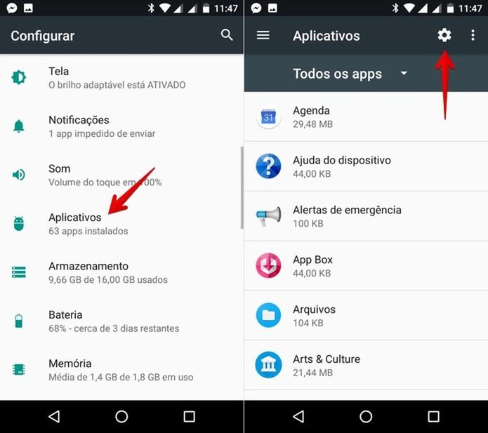 Acesse as configurações de aplicativos (Foto: Reprodução/Helito Bijora)