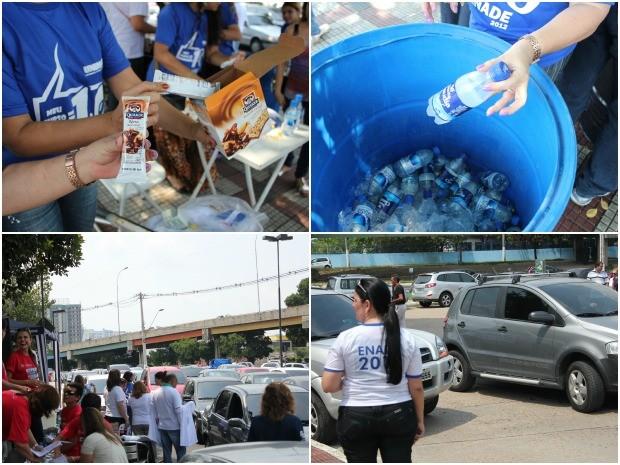 Faculdades receberam seus alunos com barras de cereal, água e canetas para a prova (Foto: Marcos Dantas / G1 AM)