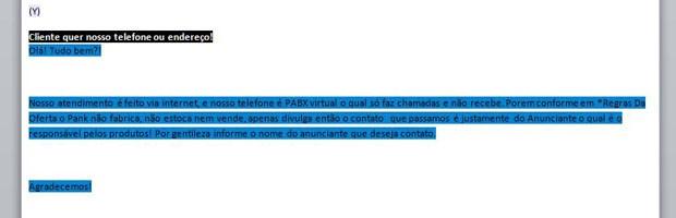 Trecho do manual informa que a empresa não possui telefone fixo (Foto: Reprodução)
