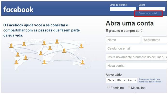 Acesse o Facebook e clique onde se pede (Foto: Reprodução/Camila Peres)