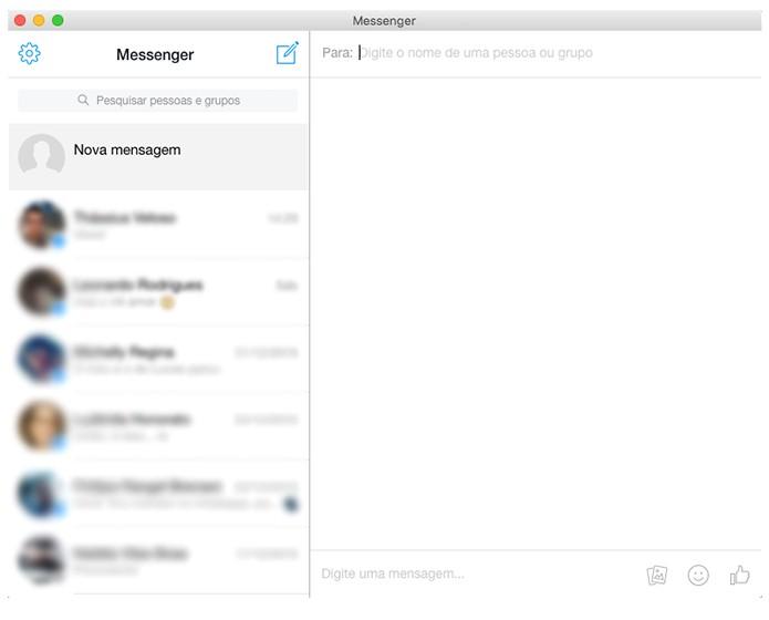 Interface do Facebook Messenger for Desktop é idêntica a versão web do mensageiro. (Foto: Reprodução/Alessandro Junior)