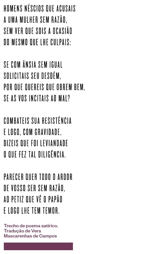 Trecho de poema satírico. Tradução de Vera Mascarenhas de Campos (Foto: Época)