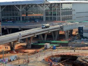 Obras do novo terminal de Viracopos, em Campinas (Foto: Fernando Pacífico / G1 Campinas)