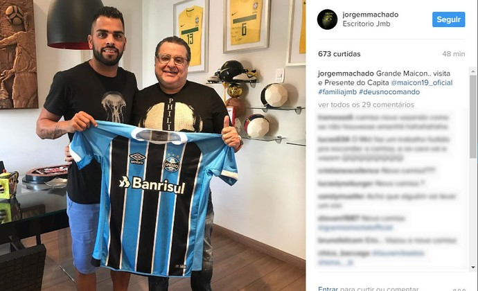 Grêmio Jorge Machado Maicon camiseta Grêmio camisa Grêmio (Foto: Reprodução/Instagram)