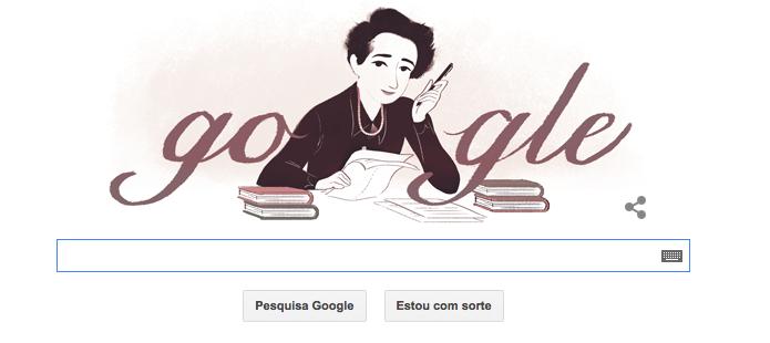 108º aniversário de Hannah Arendt no Doodle do Google (Foto: Reprodução/Google)