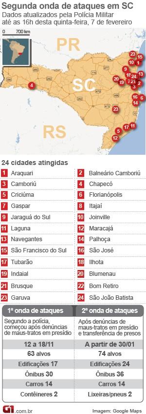 mapa ataques 0702 21h30 (Foto: Editoria de Arte/G1)