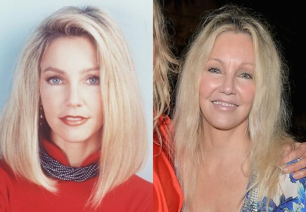 Heather Locklear em Melrose Place (1992-1999) e em 2017 (Foto: Reprodução e Getty Images)