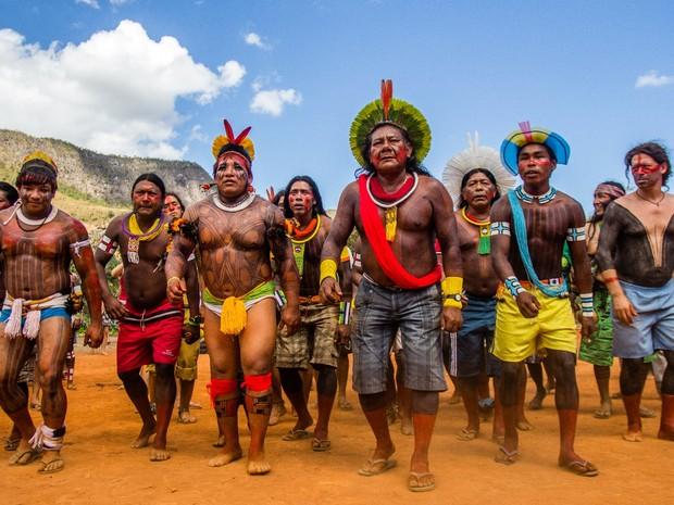 Povos indígenas participam do Encontro de Culturas Tradicionais da Chapada dos Veadeiros, em Alto Paraíso de Goiás (Foto: Anne Vilela/Divulgação)