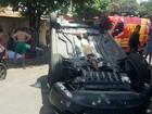 Motorista perde o controle e capota carro (Vanessa Martins Porfírio/Cedida)