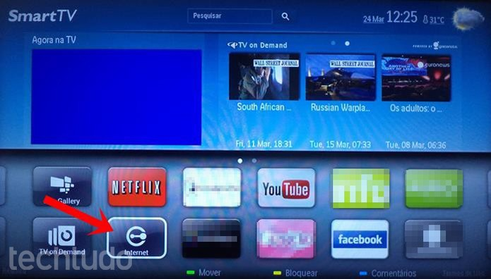 ad5b973b7 Opção Internet permite navegar e ver vídeos dentro de sites (Foto: Dario  Coutinho/