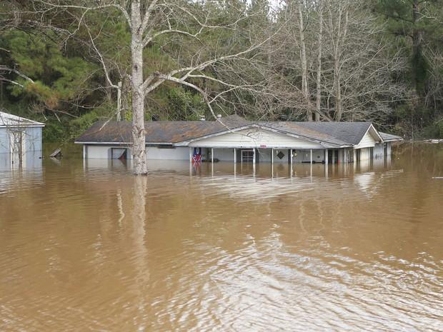 Casa é atingida por enchente em Elba, no Alabama (Foto: REUTERS/Marvin Gentry)