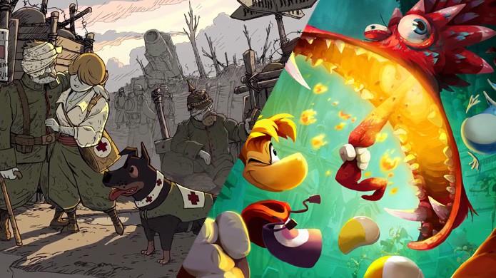 Em março, Valiant Hearts (PS4) e Rayman Legends (XOne) lutaram de igual para igual, mas Rayman tinha mais conteúdo (Foto: Reprodução/Operation Rainfall e Game Kult)