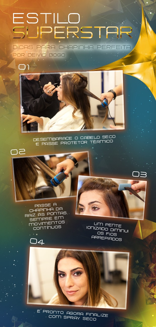 Tutorial com os quatro passos da chapinha perfeita de Fê Paes Leme (Foto: SuperStar/TV Globo)