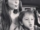 Carol Nakamura posa com filho de Sidney Sampaio: 'Amo esse pequeno'