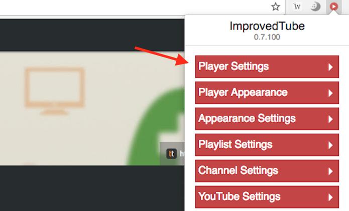 Caminho para acessar as opções de modificações para o player do YouTube da extensão ImprovedTube (Foto: Reprodução/Marvin Costa)