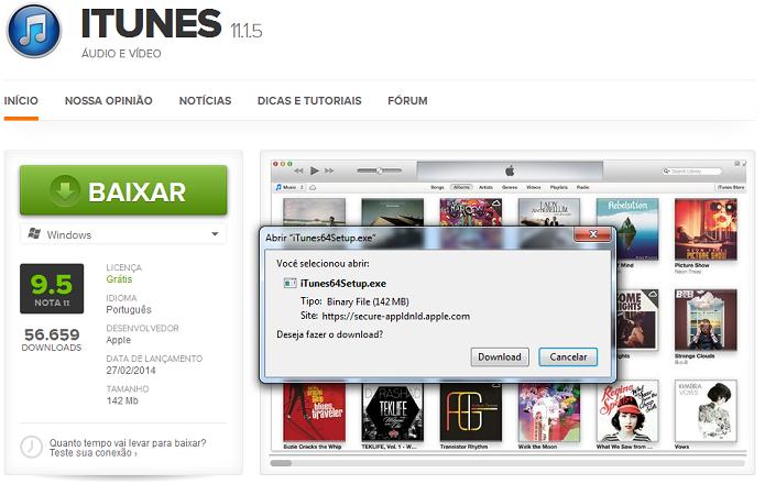 Baixando a versão mais recente do iTunes no TechTudo Downloads (Foto: Reprodução/Edivaldo Brito)