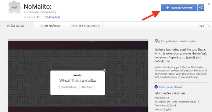 Opção para baixar a extensão NoMailto para o Google Chrome (Foto: Reprodução/Marvin Costa)