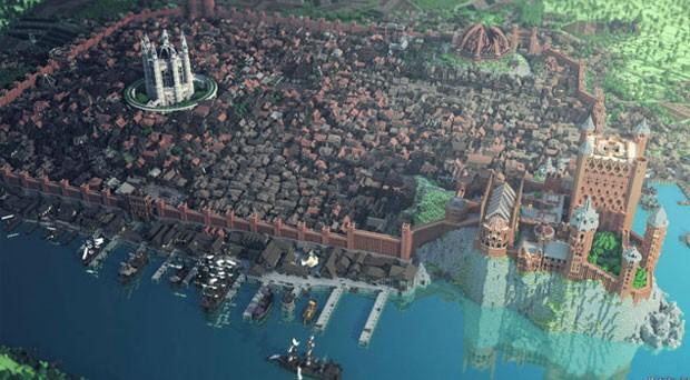 Cidade de King's Landing no 'Minecraft' tem 3 mil construções e levou 4 meses para uma equipe de 100 pessoas construir (Foto: Divulgação/WesterosCraft)