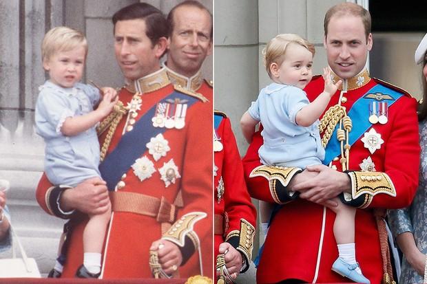 Família Real Britânica no Trooping de Colour em 1984 e em 2015 (Foto: Getty Images)