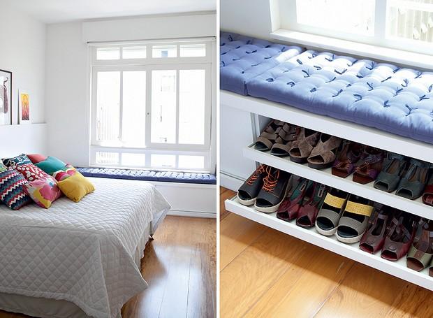 A equipe do a:m studio de arquitetura criou o baú que aproveita a área embaixo da janela deste quarto. A peça guarda os sapatos da moradora (Foto: Maíra Acayaba)