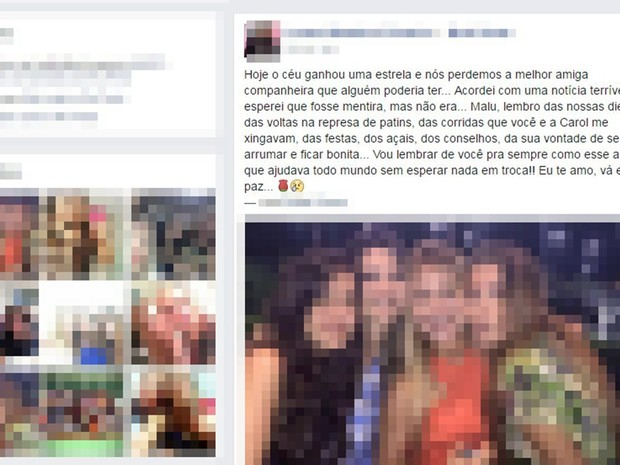 Amiga fez postagem em rede social  (Foto: Reprodução/Facebook)