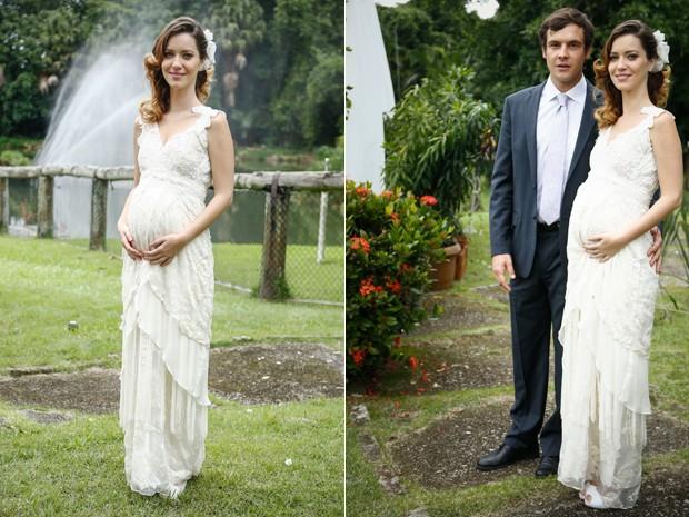 Nathalia Dill e Sergio Guizé posam no casamento de Laura e Caíque (Foto: Raphael Dias/ Gshow)