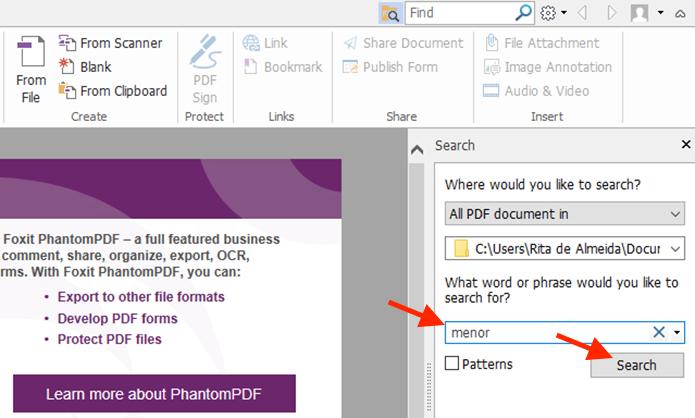 Pesquisando um termo em vários documentos PDF sem que eles sejam abertos com o Foxit Reader (Foto: Reprodução/Marvin Costa)