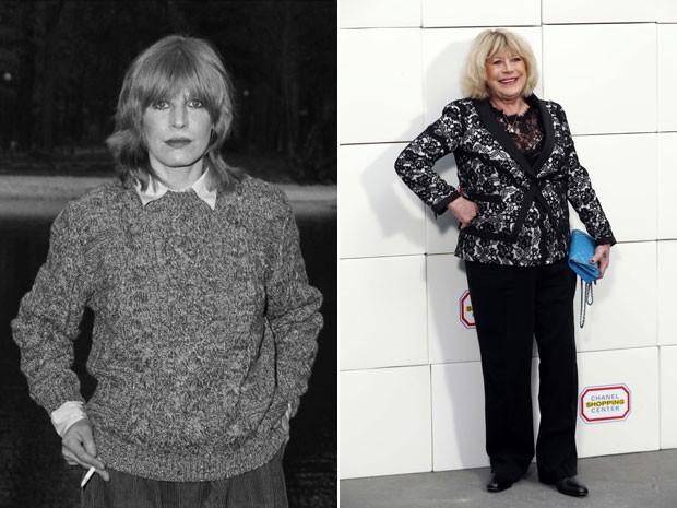 A cantora e atriz inglesa Marianne Faithfull, em fotos de 1981 e de 2014 (Foto: Arquivo/AFP)