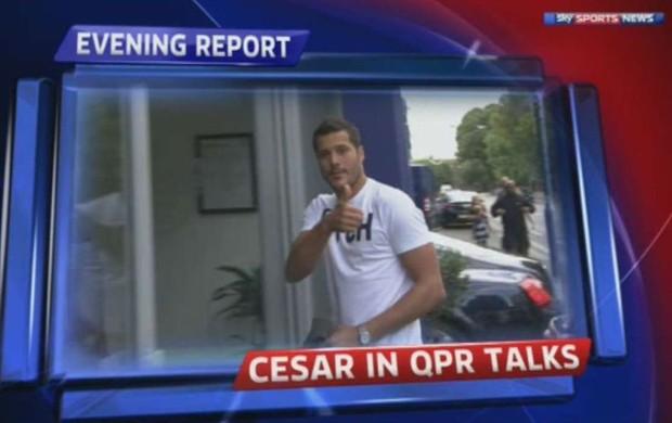Julio Cesar em Londres para negociar com o Queens Park Rangers (Foto: Reprodução)