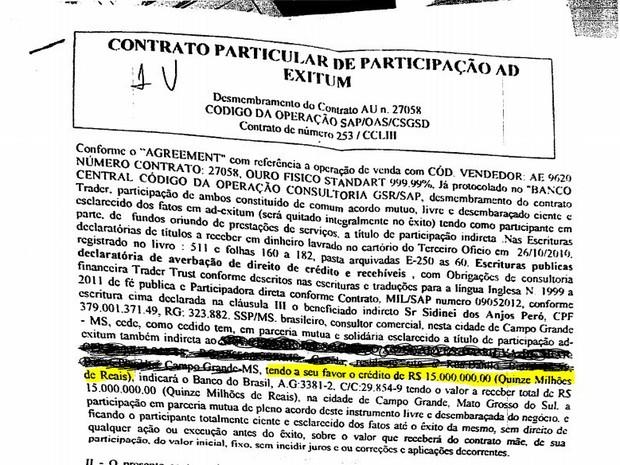 Parte do contrato assinado por vítimas de golpe (Foto: Odilon de Oliveira / Arquivo Pessoal)