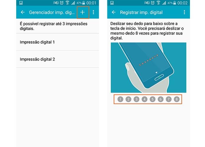 Registre a nova digital no Galaxy S5 (Foto: Reprodução/Barbara Mannara)