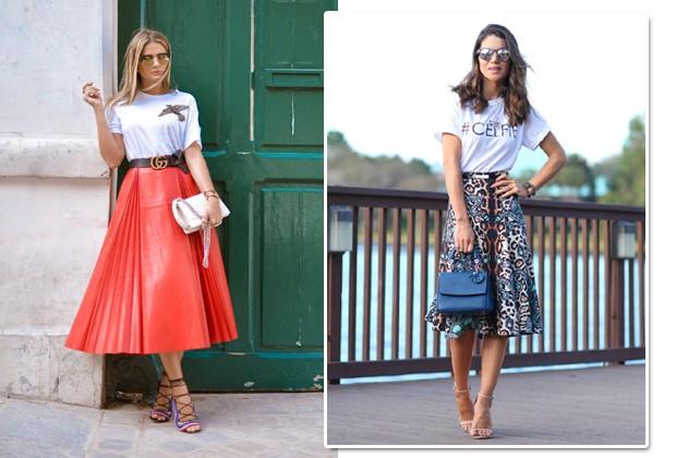Camiseta e saia midi é a nova proposta certeira de moda festa (Foto: Reprodução Instagram)