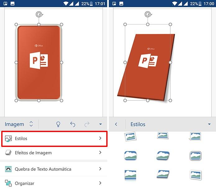 Usuário pode aplicar conjunto completos de estilos às imagens do Office para Android (Foto: Reprodução/Elson de Souza)