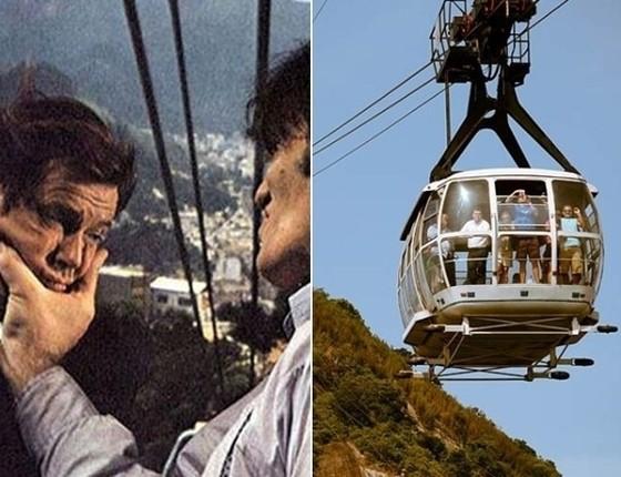 Roger Moore chegou filmar 007 Contra o Foguete da Morte, 1979, no Rio, ao lado de Richard Kie (Foto: Reprodução)